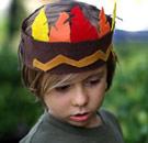 Boy wearing a Native American headband