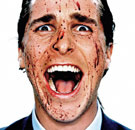 Bloody faced Christian Bale in American Psycho