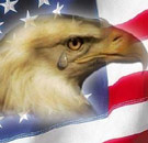 Crying eagle on an American flag