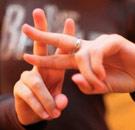 Hashtag symbol using fingers