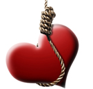 Heart being lynched on a rope.