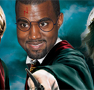 Kanye West with Harry Potter wand