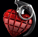 Heart-shaped red grenade