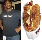 Marcus and a KFC Double Down facing each other