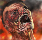 Man's face melting off in fire