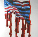 Melting flag sculpture