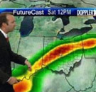 Meteorologist showing a radar map that looks like a penis and balls
