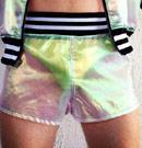 Boner in neon shorts