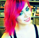 Neon pink hair dyed on girl