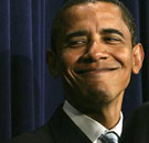 Obama face with a sly smile