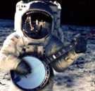 Astronaut playing banjo on the Moon