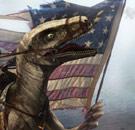 Velociraptor holding USA flag