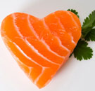 Salmon cut into a heart shape
