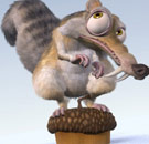 Scat the squirrel from Ice Age standing on a nut