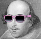 Shakespeare wearing pink sunglasses