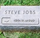 """Steve Jobs """"Slide to Unlock"""" tombstone in graveyard"""