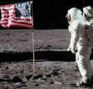 USA flag on the moon with astronaut