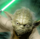 Yoda holding light saber