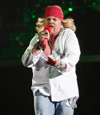 Axl Rose at a reunion concert for Guns 'n Roses