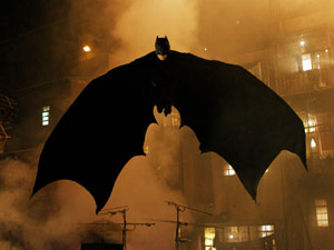 Batman flying in Batman Begins movie
