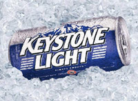 Keystone Light beer can on ice
