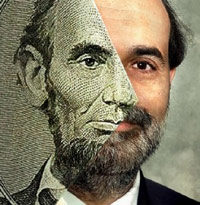 Bernanke and Lincoln merged into a dollar bill