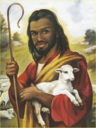 Black Jesus holding a lamb and a cane