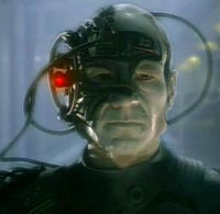 Captain Picard assimilated into the Borg