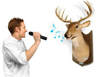 Buck on wall and man singing