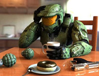 Guy dressed in Call of Duty outfit at kitchen table alone