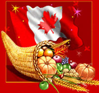 Canadian flag and cornucopia