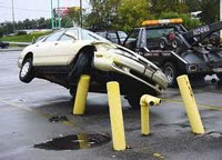 Car crashed into posts in a parking lot