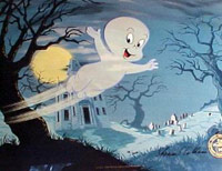 Casper the Friendly Ghost flying through a haunted town