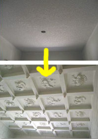 Stucco ceiling turns into shapes