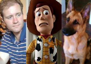 Charlie and Luther with Woody from Toy Story 3