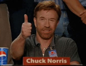 Chuck Norris approved thumbs up on a panel