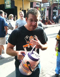 Adam Hornyak holding a 100-ounce daiquiri in New Orleans