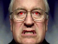 Dick Cheney angry face with red eyes