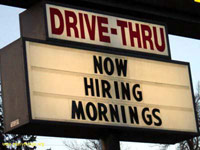 Drive-thru now hiring mornings