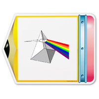 Pencil shaped dry erase board with a prism on it