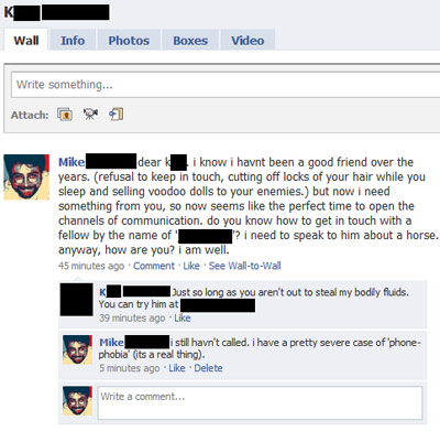 Facebook wall conversation