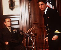 Tom Cruise and Jack Nicholson in courtroom scene from A Few Good Men movie