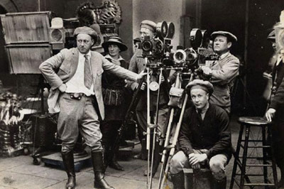 Film crew in black and white