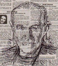 Sketch of George Carlin on a newspaper