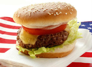 Hamburger on a USA flag