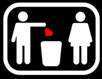 Heart thrown in trash by stick figures