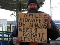 Homeless man needs money for karate lessons