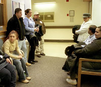 Crowded hospital waiting room