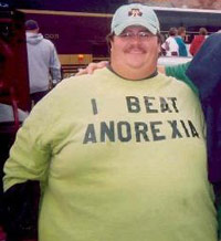 Fat guy wearing 'I Beat Anorexia' tshirt