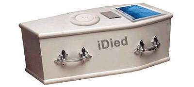 Apple iPod coffin - buried electronics